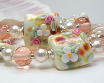 HAPPY SPRING SALE Handmade Lampwork Bead Necklace and Earrings Set
