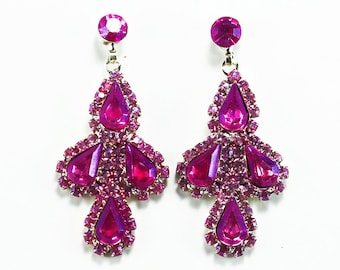 Pink Hand Dyed Rhinestone Earrings
