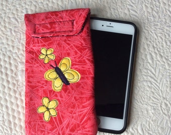 Lg size phone case, Quilted case, Large size Smart phone case, Gadget case. phone pouch, iPhone, smartphone bag,eyeglass, phone case 6P#50