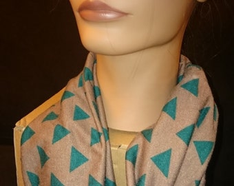 Infinity Scarf - Green and Brown Triangle Knit Infinity Circle Mobius Scarf