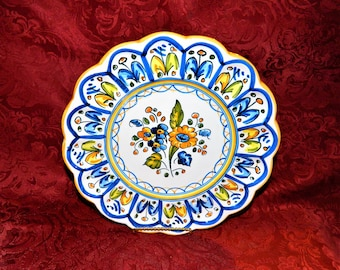 Vintage S. Mora Detailed Scalloped Hanging Plate Hand Painted Tin Glaze