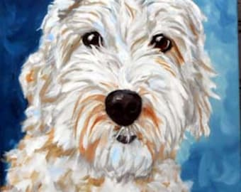 Hand Painted Custom Pet Portrait Painting, Oils on Stretched Canvas, Labradoodle, Goldendoodle, Doodle or any breed Gift Certificate
