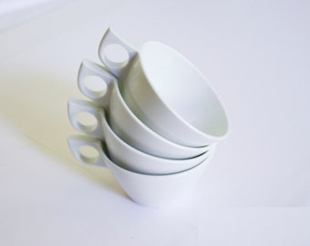 Texas Ware White Coffee Cups - Four