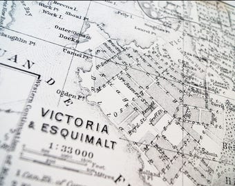 Old map of Victoria & Esquimalt antique map print on eco bamboo paper Canadian made in Canada souvenir West Coast British Columbia YYJ