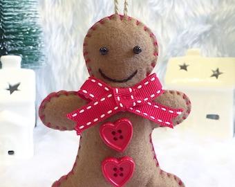 Handmade Felt Gingerbread Man Christmas Decorations