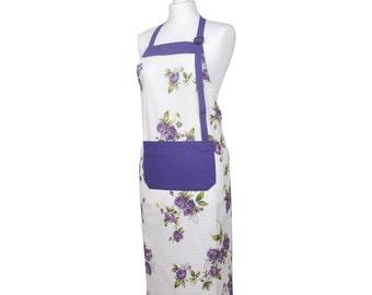 Apron purple roses