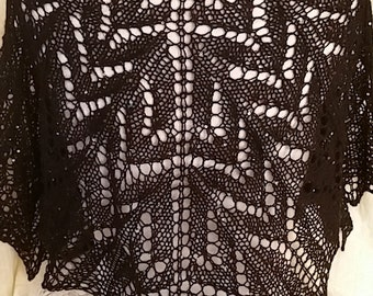 Hand Knit lace shawl in Black Wool blend with mini sequins