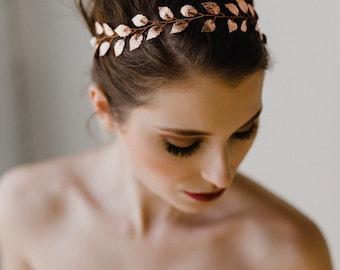 Rose Gold Leaf Bridal Headband | Rose Gold Vine Headpiece | Leaf Hair Vine | Rose Gold Leaf Bridal Hairpiece | Rose Gold Lily Vine