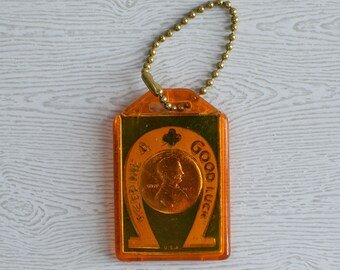 Keep Me 4 Good Luck Encased Lucky Penny Keychain with Identification Contact Card on reverse