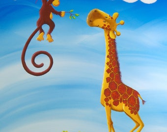 """Reproduction on canvas 40 x 60 """"Giraffe and monkey"""""""