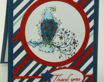 American Eagle Card, Patriotic Card, Thank You Card For Military, Veterans Day, USA Blank, Red White Blue, Memorial Day, 4th of July Card