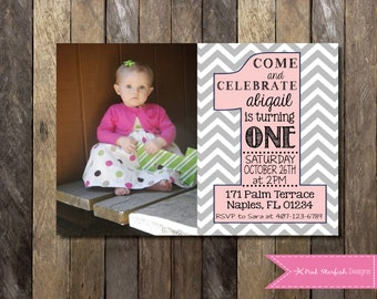 First Birthday Invitation, 1st Birthday Invitation, Pink, Grey, Chevron, Pink and Grey, Blush Pink, Birthday Invitation, Digital Printable
