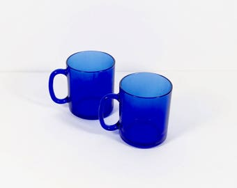 Cobalt Blue Glass Mugs - Set of 2 France Deep Blue Coffee Cups