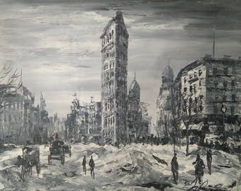 Snow NYC Flatiron Building in Year 1906  -Pen King -A1370
