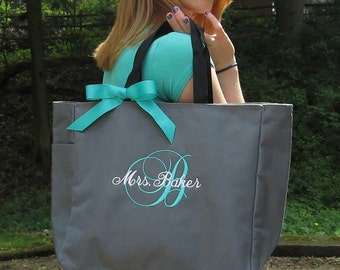Monogrammed Personalized Tote Bag / 16 Colors / Bridal / Teacher / Work Bag / Beach Tote