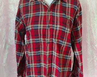 90s One Pocket Flannel - Size Large - Vintage Clothing