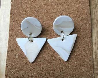 White marbled polymer clary dangle studs
