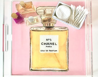 CLASSIC FRENCH PERFUME no 5 pink & black (2 images -reversible!) 12X12 Acrylic Tray