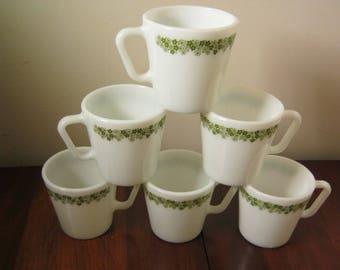 Vintage Pyrex Crazy Daisy D-Handle Mugs Pyrex Spring Blossom Coffee Mugs Set Of 6