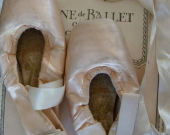 One Pair Vintage Pointe Ballet Shoes Painful Memories Tattered old Ballet Shoes French Decor