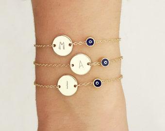 Initial Evil Eye Bracelet, Disk and Evil Eye Bracelet, Personalized Jewelry, Customized girlfriend gift, Personalized Bracelet /  B431