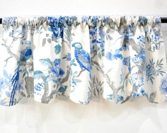 Window Valance Linen Fabric Blue White Linen Fabric Birds Floral Lined Rod Pocket Gathered Valance READY TO SHIP
