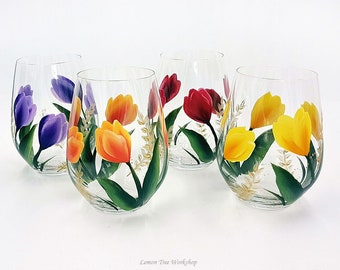 Hand Painted Tulip Wine Glasses Set of 4 Red Purple Yellow Orange Spring Tulip Stemware with Gold Accents