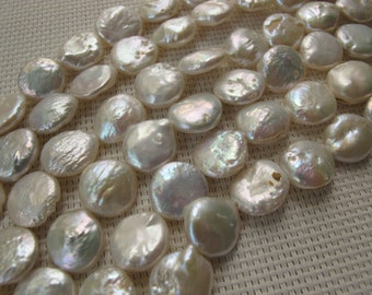 13-14mm White Freshwater Coin Pearl PL129