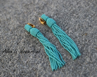 Turquoise tassel earrings Oscar de la renta statement earrings beaded tassel short tassel boho earrings boho earrings gift for girlfriend