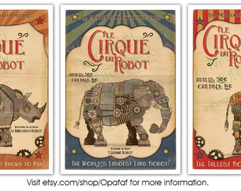 "3 Pack - Retro Robot Circus Prints - Large - 11.7""x16.5"" (A3)"