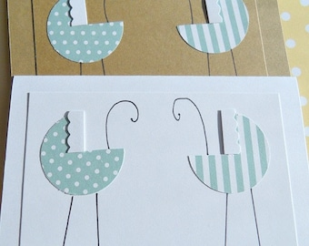Card for Twin Boys,  Welcome Twins Card, Twin Boys, Twin Girls, Baby Buggy Cards,  Baby Gift Thank You Card, GBBC1