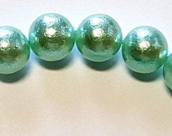 12mm luna light blue round glass pearl beads  16 inch strand