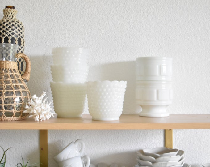 white fire king hobnail milk glass vase / wedding table display