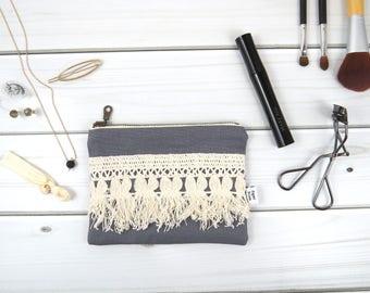 Linen Lace zipper pouch small size - ELLIE in Graphite - vintage cotton lace, linen cosmetic bag, passport case clutch
