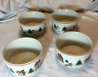 Vintage Stoneware-Jamestown China-The Magic of Christmas-4 Bowls