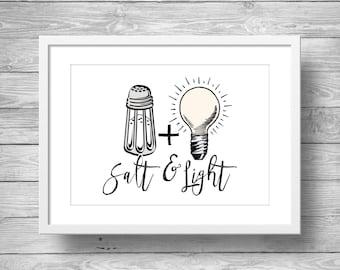 Bible verseMatthew 5v13-16 | Salt & Light | graphic minimalist scripture art print | typography Scripture print | Salt and Light