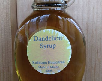 Dandelion Flower Syrup -Kirkmann Homestead -Made in Maine -Tastes like Honey -Tea Sweetener, Icing flavoring, Toast, Oatmeal, Yogurt Topping