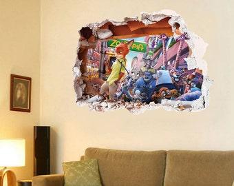 Zootopia in wall decal - 3D Bedroom Boys Girls Kids Vinyl Wall Art Sticker Gift New XLarge