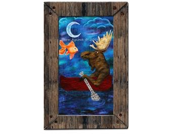 "Moose Print- ""Fish Wish"" 12x18 print"