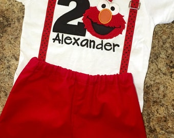 Elmo Shirt and shorts outfit with suspenders, bow tie, number and name