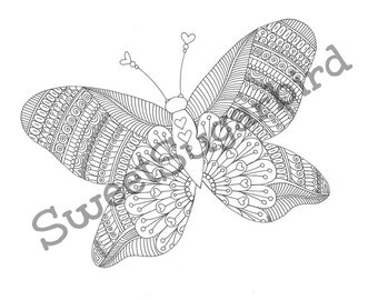 Butterfly Mandala No. 2 - Hand Drawn Colouring Page