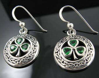 Genuine .925 Sterling Silver Celtic Knot and Emerald Green Shamrock Earrings