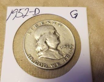 1952-D  Franklin 50 cent Half Dollar  coin good condition