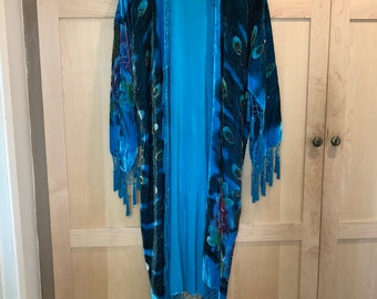 Vintage Burnout Velvet Kimono with Beaded Fringe- Peacock Kimono Jacket- Blue Teal Robe Dress- Festival Clothing- Bohemian Luxe- Boho Chic