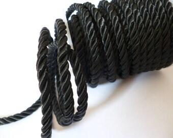 5 mm Black Braided Silk Cord_PP01244557453_ BRAIDED/ Black Cord_of 5 mm_bobbin OF 6 meters _6/56 yards