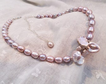 Necklace/Choker - Keshi & freshwater pearl with sterling silver - Ref: C238
