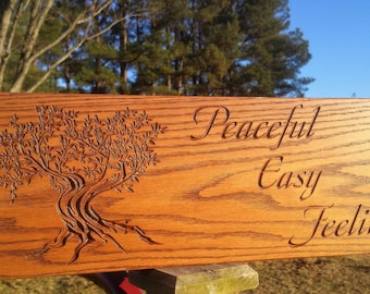 Wood Tree Swing Tree of Life Solid Oak Personalized Edge and Seat