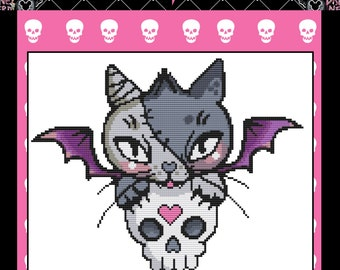 Quick Stitch Mini Cross Stitch Kit By Miss Cherry Martini -  Vamp Kitty- Tattoo Art Needlecraft with DMC Materials - No Background