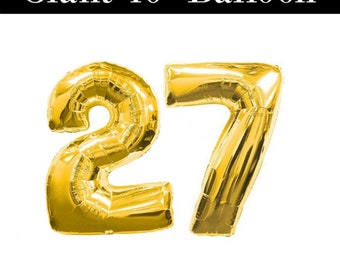 """GIANT Number 27 Gold Balloons - 40"""" Gold 27 Balloons - 27th Birthday Balloons"""