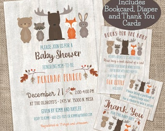 Whitewash Woodland Baby Shower Invitation, Book card, Diaper Raffle, and Thank You Cards combo